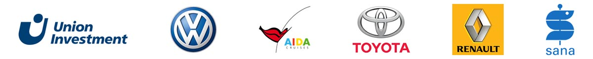 Logos Referenzen, Union Investment, VW, AIDA, Toyota, Renault, Sana Kliniken
