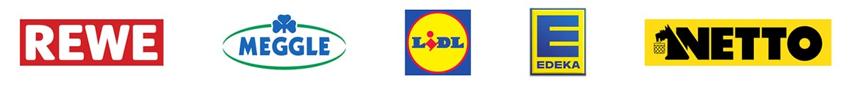 Logos Referenzen, Rewe, Meggle, Lidl, Edeka, Netto