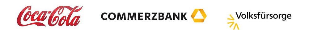 Logos Referenzen. Coca Cola, Commerzbank, Volksfürsorge