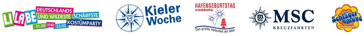 Referenzen Logos, LiLaBe, Kieler Woche, Hamburger Hafengeburtstag, MSC, Schlagermove