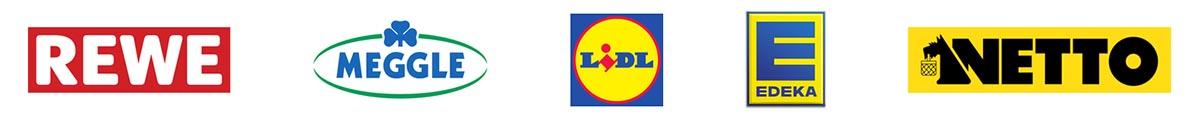 Referenzen Logos, Rewe, Meggle, Lidl, Edeke, Netto