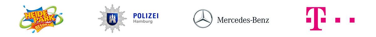 Logos Referenzen, Heidepark Soltau, Polizei Hamburg, Mercedes Benz, T-Mobile