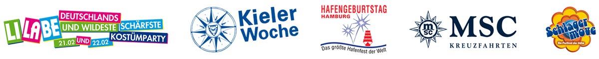 Logos Refenzen. LiLaBe, Kieler Woche, Hamburger Hafengeburtstag, MSC Kreuzfahrten, Schlagermove